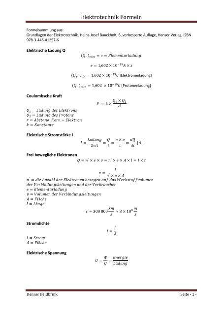 Elektrotechnik Formeln Ig Ils