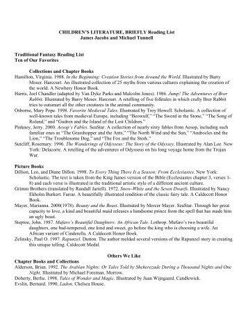 CHILDREN'S LITERATURE, BRIEFLY Reading List James Jacobs ...