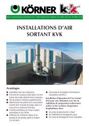 INSTALLATIONS D'AIR SORTANT KVK Avantages - Koerner