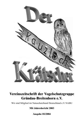 Vereinszeitschrift der Vogelschutzgruppe Gründau-Breitenborn e.V.