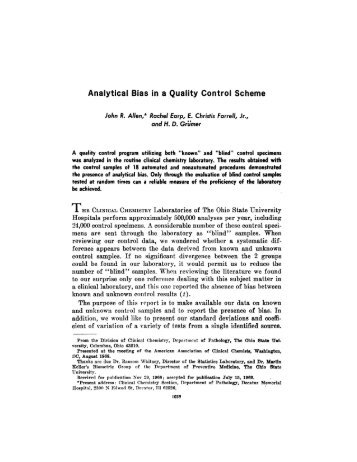 Analytical Bias in a Quality Control Scheme - Clinical Chemistry