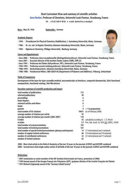 Short Curriculum Vitae And Summary Of Scientific Activities Sbpmat