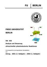 FU BERLIN FREIE UNIVERSITÄT BERLIN Sfb 450 Analyse und ...