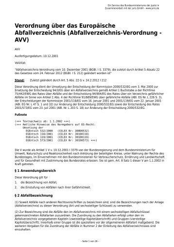 Abfallverzeichnis-Verordnung - AVV - Gesetze im Internet