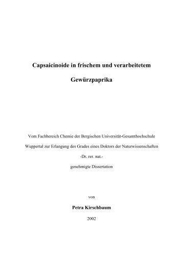 Capsaicinoide in frischem und verarbeitetem Gewürzpaprika