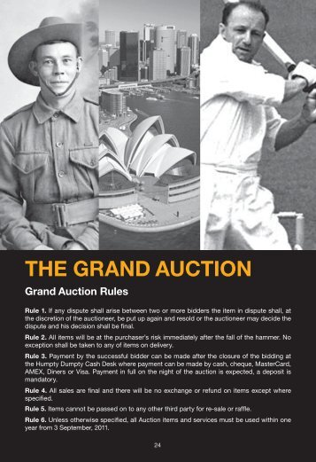THE GRAND AUCTIoN - Humpty Dumpty Foundation