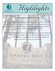 The 2012 Spring Membership Drive - Chapel Hill Country Club