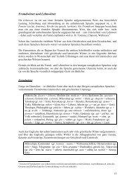 Fremdwörter und Lehnwörter - Examen Europaeum
