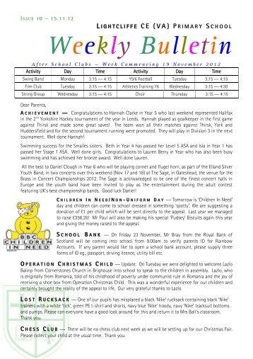 LIGHTCLIFFE CE (VA) PRIMARY SCHOOL - take2theweb
