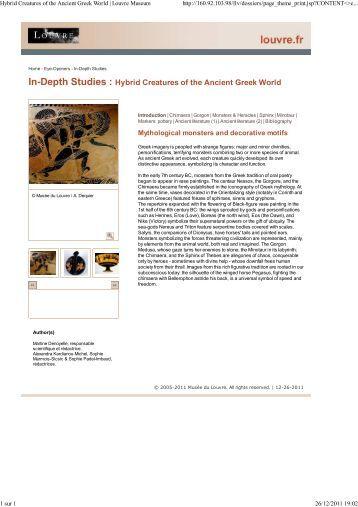 In-Depth Studies : Hybrid Creatures of the ... - Musée du Louvre