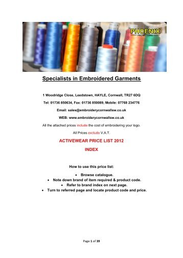 Specialists in Embroidered Garments