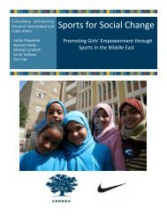 Sports for Social Change - SIPA - Columbia University