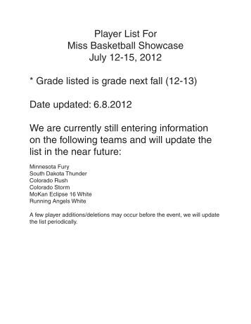 Player List For Miss Basketball Showcase July 12-15, 2012 * Grade ...
