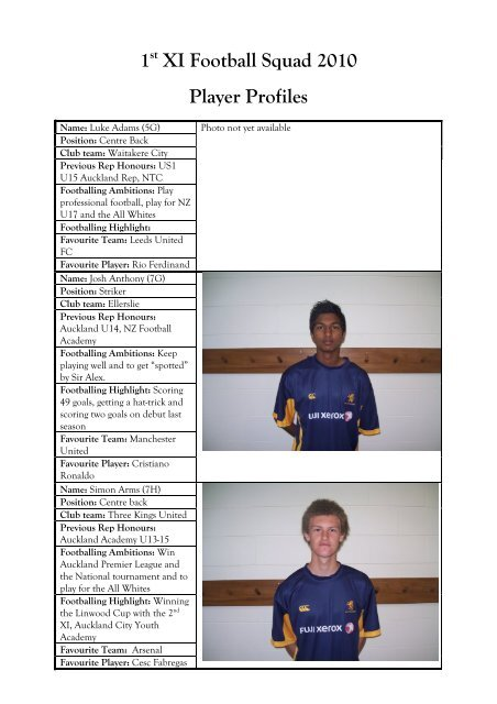 1st Xi Football Squad 2010 Player Profiles Auckland