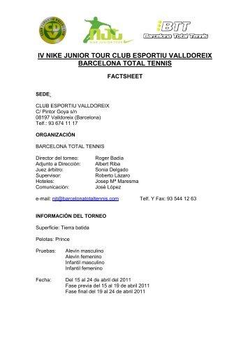 iv nike junior tour club esportiu valldoreix barcelona ... - TeniSpain