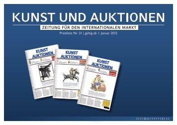 Mediadaten KUNST UND AUKTIONEN 2012 - Zeit Kunstverlag