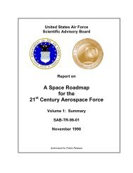 A Space Roadmap for the 21 Century Aerospace Force