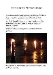 Meckesheimer Adventskalender - Feuerwehr Meckesheim