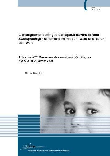 L'enseignement bilingue dans/par/à travers la forêt ... - Publications