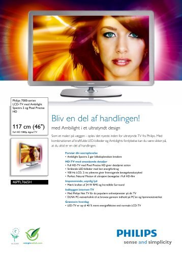46PFL7665H/12 Philips LCD-TV med Ambilight Spectra 2 og Pixel ...