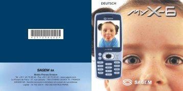 Bedienungsanleitung SAGEM MY X-6 GSM ... - Fax-Anleitung.de