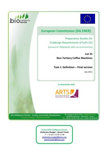 European Commission - DG ENER Preparatory Study Lot 25