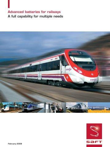 Advanced batteries for railways A full capability for multiple ... - Saft