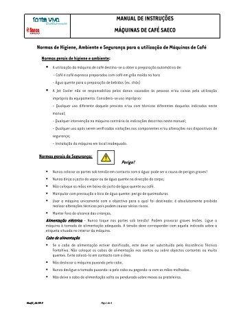 manual de instruções máquinas de café saeco - Fonte Viva