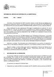 INFORME DEL SERVICIO DE DEFENSA DE LA COMPETENCIA N ...