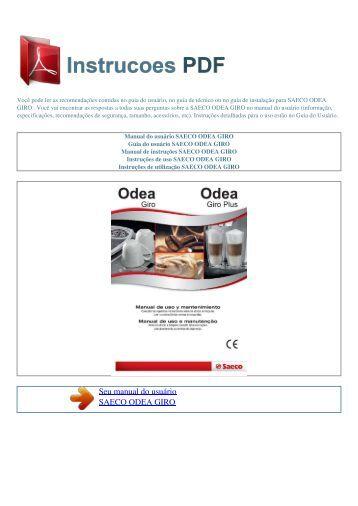 Manual do usuário SAECO ODEA GIRO - INSTRUCOES PDF