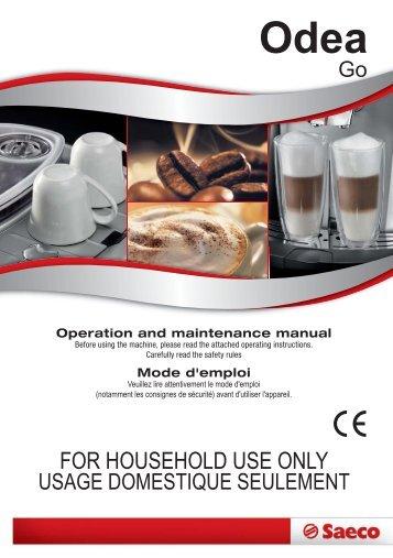 Manual tehnic expresoare Saeco Odea Go - Espresso Cafe