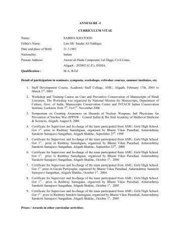 annexure i curriculum vitae name sabiha khatoon