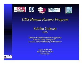 UDS Human Factors Program Sabiha Gokcen - AcuSafe