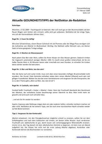 Aktuelle GESUNDHEITSTIPPS der NetDoktor.de-Redaktion