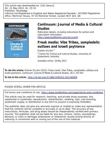 Freak media: Vibe Tribes, sampledelic outlaws and Israeli psytrance