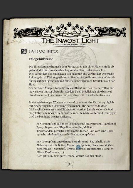 Tattoo-Infos - Pflegehinweise (PDF) - The Inmost Light