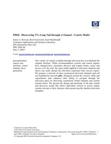 PHIZ: Discovering TVs Long Tail through a Channel - HP Labs ...