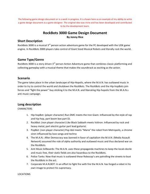 Rockbots 3000 Game Design Document Jonny Rice Video Game,Elements And Principles Of Design Matrix Worksheet