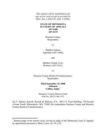 Houston County, Respondent, vs. Matthew Solum, Appellant ... - Justia