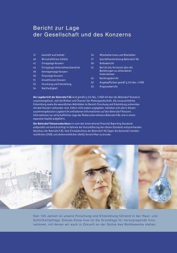 Bericht zur Lage der Gesellschaft und des Konzerns - Beiersdorf