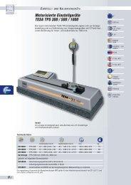 Motorisierte Einstellgeräte TESA TPS 300 / 500 / 1000