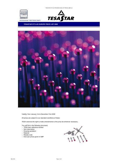 TESASTAR STYLUS PROGRAM 2009 LIST PRICES (GBP)