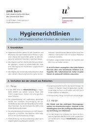 Hygienerichtlinien - zahnmedizinische kliniken zmk bern ...