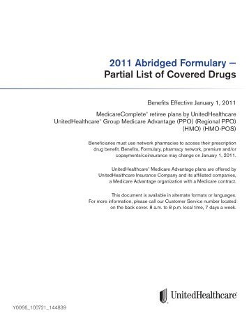 UHC Abridged Formulary - Partial List of Covered Drugs