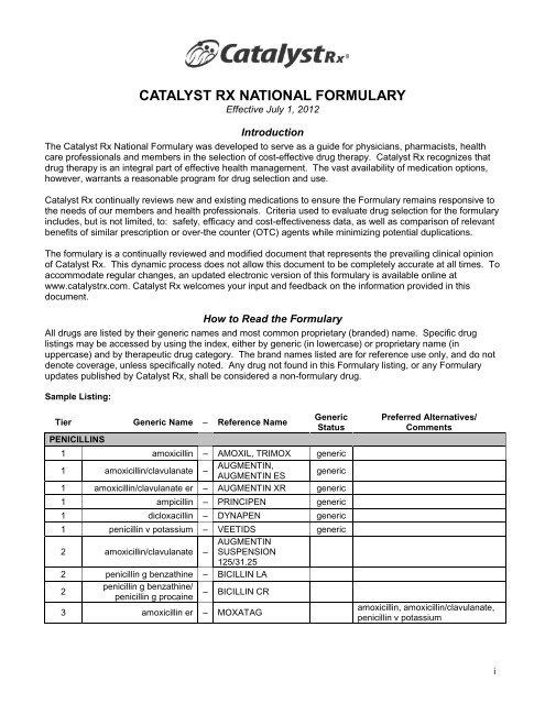 Catalyst Rx National Formulary Walgreenshealth Com