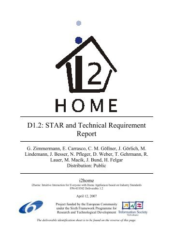 D1.2: STAR and Technical Requirement Report - I2Home