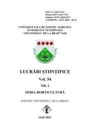 LUCRĂRI ŞTIINŢIFICE Vol. 54 NR. 2 SERIA HORTICULTURĂ