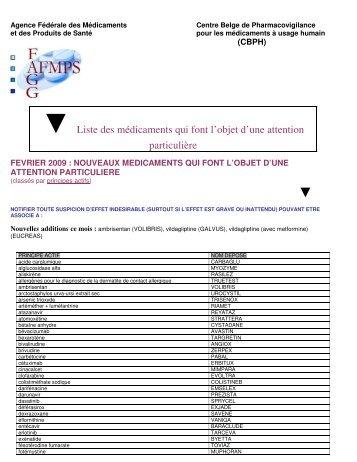 Liste des nouveaux médicaments portant le symbole - CBIP