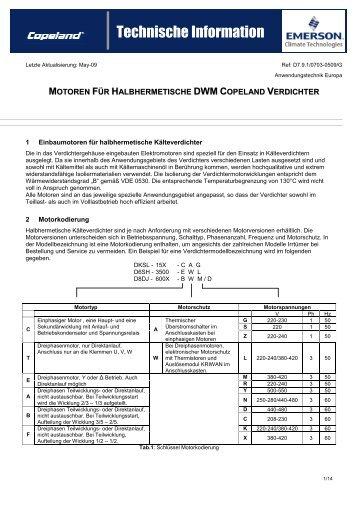 motoren für halbhermetische dwm copeland verdichter - Emerson ...
