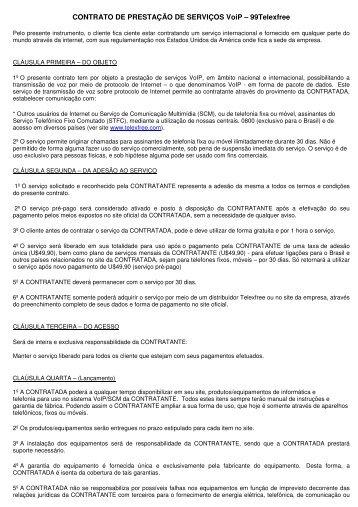 CONTRATO DE PRESTAÇÃO DE SERVIÇOS VoiP – 99Telexfree